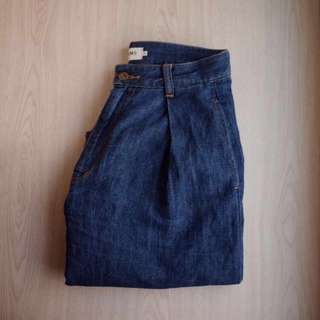 Beams 棉麻高腰牛仔寬褲