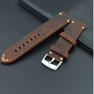 Strap Stainless Steel Buckle Vintage Calf Leather Wrist Watch Band 22m