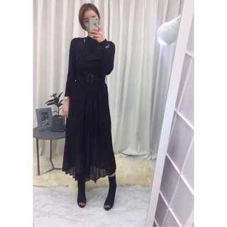 🚚 正韓-黑色吊帶拼接雪紡連身裙洋裝