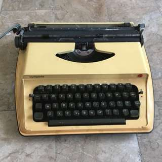 Vintage 60s Olympia Olympiette S12 Typewriter with Case