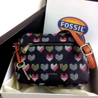 FOSSIL Piper Toaster Heart Print Double Zip Bag