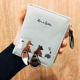 刺繡狐狸兔子貓咪短夾零錢包