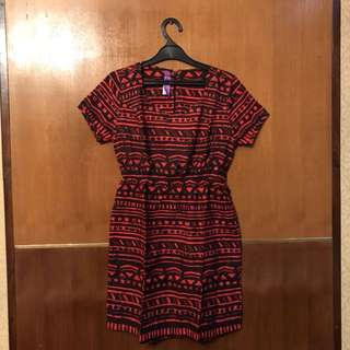 Black and red tribal dress
