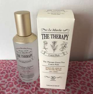 The Face Shop Therapy First Serum & Green Tea Cotton Pads