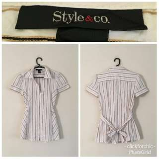 Style & Co. Striped Top w/ Bow