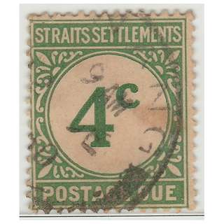 MALAYA 1926 Straits Settlements Postage Due 4c Used SG #D3 (M1322)
