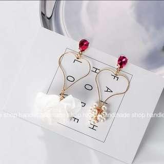 (現貨)預購款b-桃紅水鑽鏤空大愛心雪紡珍珠耳環