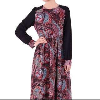 Poplook Bedelia Printed Chiffon Maxi Dress (Black)