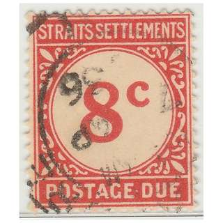 MALAYA 1924 Straits Settlements Postage Due 8c Used SG #D4 (M1324)