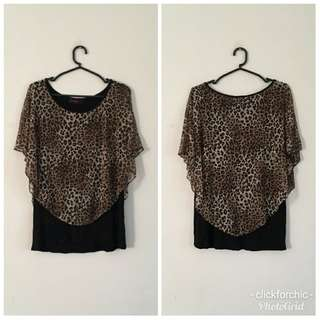 Safari Print Cape Blouse