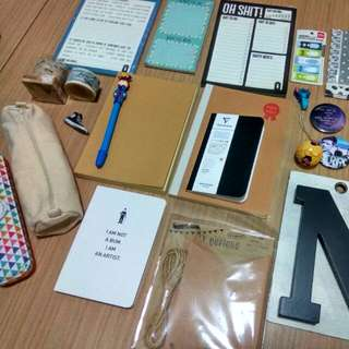 Muji notebook/stickers/badges/post it/washi tape/Keychain/typo writing pads/canvas metal pencil case
