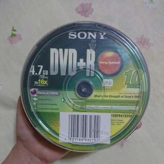 Sony DVD+R writable 4.7gig blank dvds x 10 pieces
