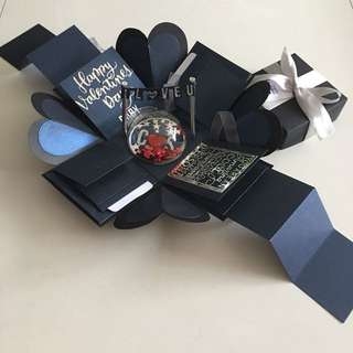Valentine day Explosion box with shaker , 8 waterfall, 2 pull tab in black, shimmer navy & silver