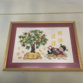 CNY hand stitched art with frame