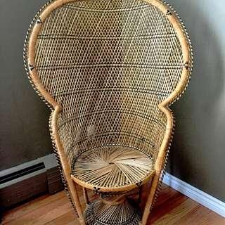 Vintage Peacock Fan Wicker Rattan Chair