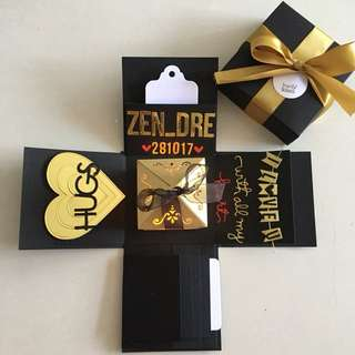 Valentine explosion box with lighthouse, 4 waterfall in black & gold
