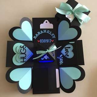 Valentine explosion box with lighthouse, 4 waterfall in black & Tiffany