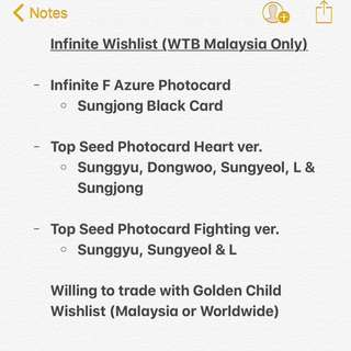 WTB LF Infinite Official Album Photocard
