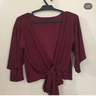 SALE! Tie top red maroon