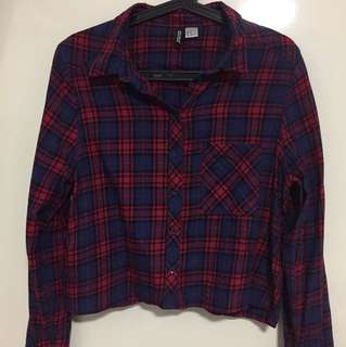 H&M Cropped Plaid Top
