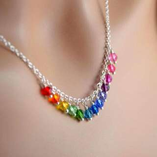 Statement Rainbow Necklace Made Of Sworavski Crystals