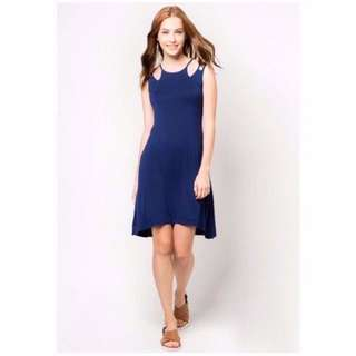 BNWT ZALORA Basic Navy Blue Shoulder Cut-Out Midi Dress