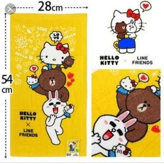 台灣代購 台灣直送 line x hello kitty 童巾 毛巾