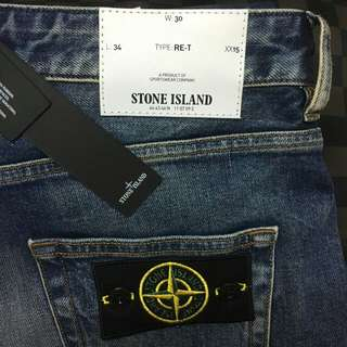 Stone Island Blue Faded Tapered Jeans