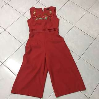 Embroidery red jumpsuit