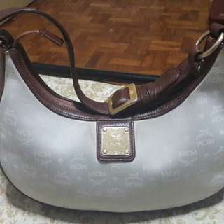 MCM MUNCHEN Genuine Leather Signature Canvas Small Shoulder Bag