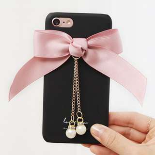 Romantic trycozy ribbon case Iphone Galaxy LG (BlackPink)