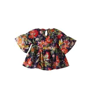 Floral wide sleeves A type blouse