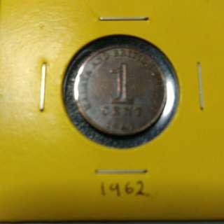 Syiling 1 cent  Malaya &British borneo