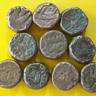 10 Coins Lot - AKBAR ( 1556 - 1605 )  / JAHANGIR - ak01 - MUGHAL - MIXED COPPER DAM COIN - Approximately 20.0 Grams Each - VERY RARE AT CHEAP PRICE - Beautiful vintage Copper Coin Medieval Islamic Persian ( 500 - 600 Years old )   india
