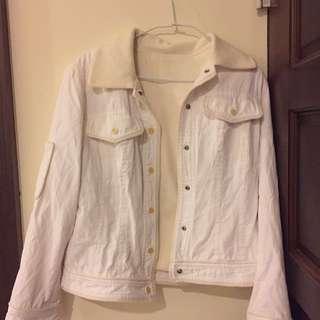 🚚 米 白色 鋪毛造型牛仔風外套