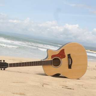 Java guitar natural wood