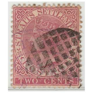MALAYA 1889 Straits Settlements Queen Victoria 2c wmk CrownCA (used) SG #63a (1388)