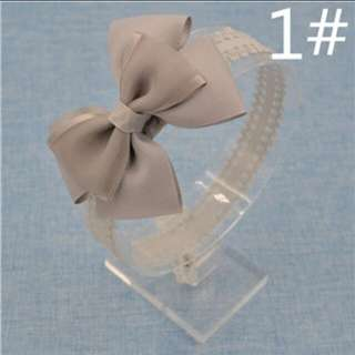 Bow Lace Headband (Grey)