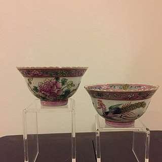 Nyonya Peranakan Straits Chinese famille rose teacups (TC07/08)
