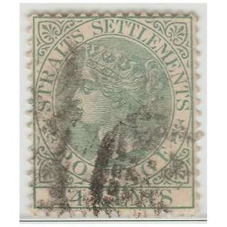 MALAYA 1884 Straits Settlements Queen Victoria 24c wmk CrownCA (used) SG #68 CV £12 (1389)