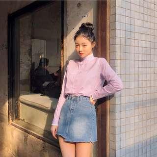 正韓製質感繽紛春季蕾絲點綴微高領襯衫 blouse ( chuu 官網代購 ) 純棉 條紋 假兩件 領口 長袖 每日穿搭