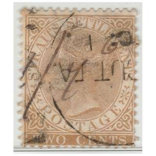 MALAYA 1868 Straits Settlements Queen Victoria 2c wmk CrownCC (used) SG #11 CV £8.50 (1393)