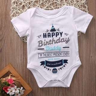 🐰Instock - happy birthday daddy romper, baby infant toddler girl boy children glad cute 123456789