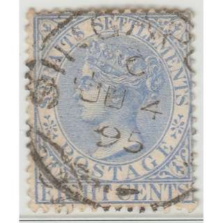 MALAYA 1894 Straits Settlements Queen Victoria 8c wmk CrownCA (used) SG #101 (1387)