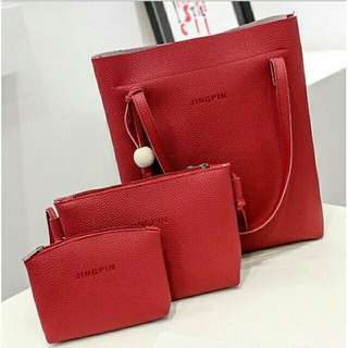 3 in 1 Korea Fashion Tote Bag - red