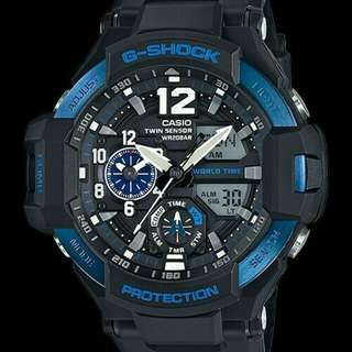 Jam Tangan Pria Casio G-Shock Ga-1100 Black Blue Original