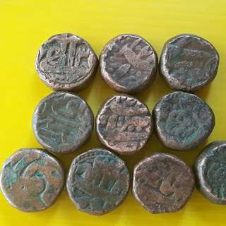 10 Coins Lot - AKBAR ( 1556 - 1605 )  / JAHANGIR - ak02 - MUGHAL - MIXED COPPER DAM COIN - Approximately 20.0 Grams Each - VERY RARE AT CHEAP PRICE - Beautiful vintage Copper Coin Medieval Islamic Persian ( 500 - 600 Years old )   india