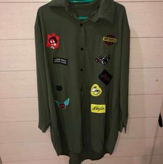 DRESS KEMEJA HIJAU TUA ARMY PATCH