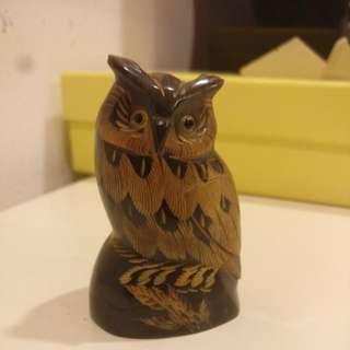 Wooden owl figurine