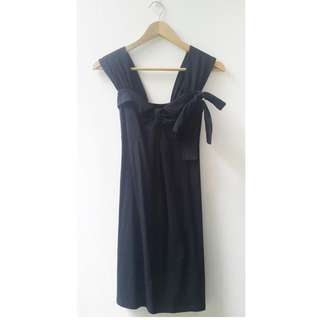 Dress Hitam Katun Hiasan Pita